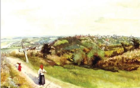 Августа Кохановська. Вид на Краків.  Акварель, гуаш. 1890