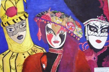 «Венеціанські маски» (гуаш), Настя Прозоровська, викладач В. Макогон