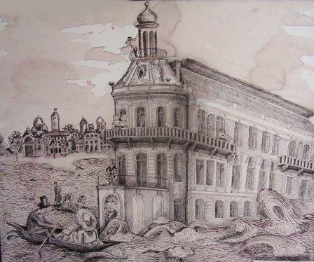 «Будинок-корабель» (туш, перо), Катерина Цигикало
