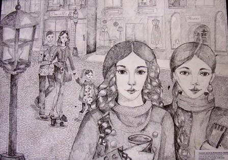 «Подруги» (туш, перо), Аліса Кукуняк, викладач І. Каленик