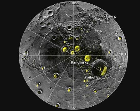 Зображення північного полюсу Меркурія, отримані Messenger . Фото з сайту NASA.