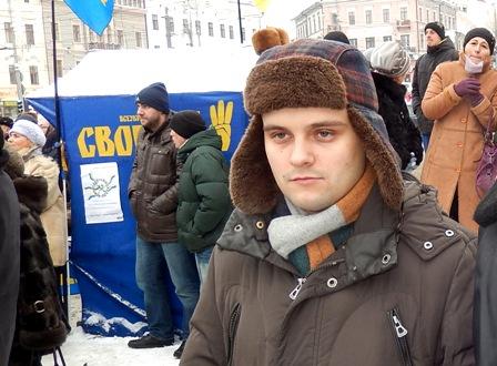 Перед виступом на мітингу до Дня Соборності України, сумний 22 січня 2014 р., Чернівці