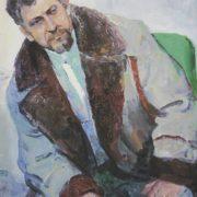 Народний художник України І. Холоменюк. Портрет заслуженого художника України Яреми Полатайка. Полотно, олія, 1981.