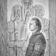Заслужений художник України О. Криворучко. Портрет Яреми Полатайка. Папір, літографський олівець, 1976.