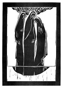 Лиха вість. 2000. Папір, лінорит. Ілюстрація до книги Н. Мизака «За тебе, свята Україно».