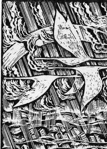 Журавлі над містом. 1988. Папір, цинкографія. З колекції Чернівецького художнього музею
