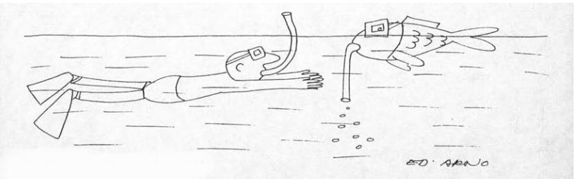 "Ед Арно. Перший малюнок, створений художником в США для журналу ""Look"". 1965 р."