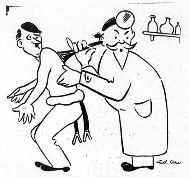 """Ед Арно. Антифашистський плакат «-Що чути, доктор??! – Російські гармати!!"""". 25 квітня 1945 р."""