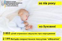 За пів року на Буковині свідоцтво про народження отримали 3853 дітей